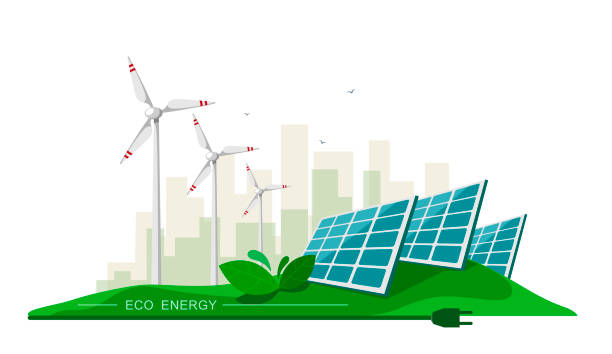 vector illustration of clean electric energy from renewable sources sun and wind on white. power plant station buildings with solar panels and wind turbines on city skyline urban landscape.eco energy - solar panels stock illustrations