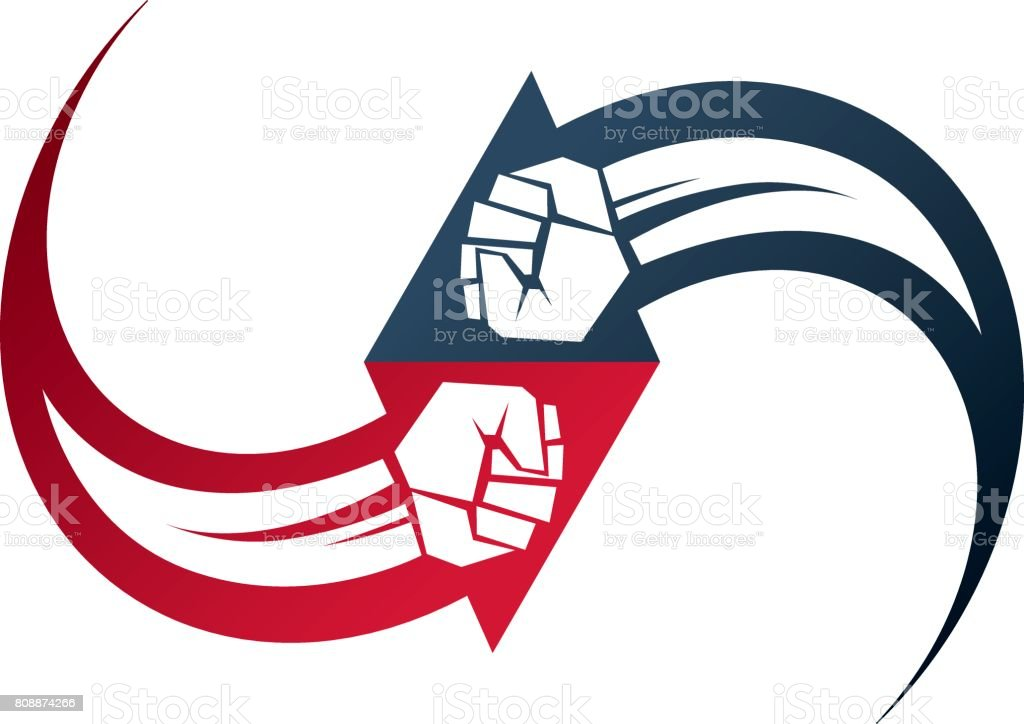 Vector Illustration Of Clenched Fist In The Shape Of Arrow Power And
