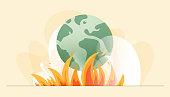 Vector Illustration of Climate Change Concept. Flat Modern Design for Web Page, Banner, Presentation etc.