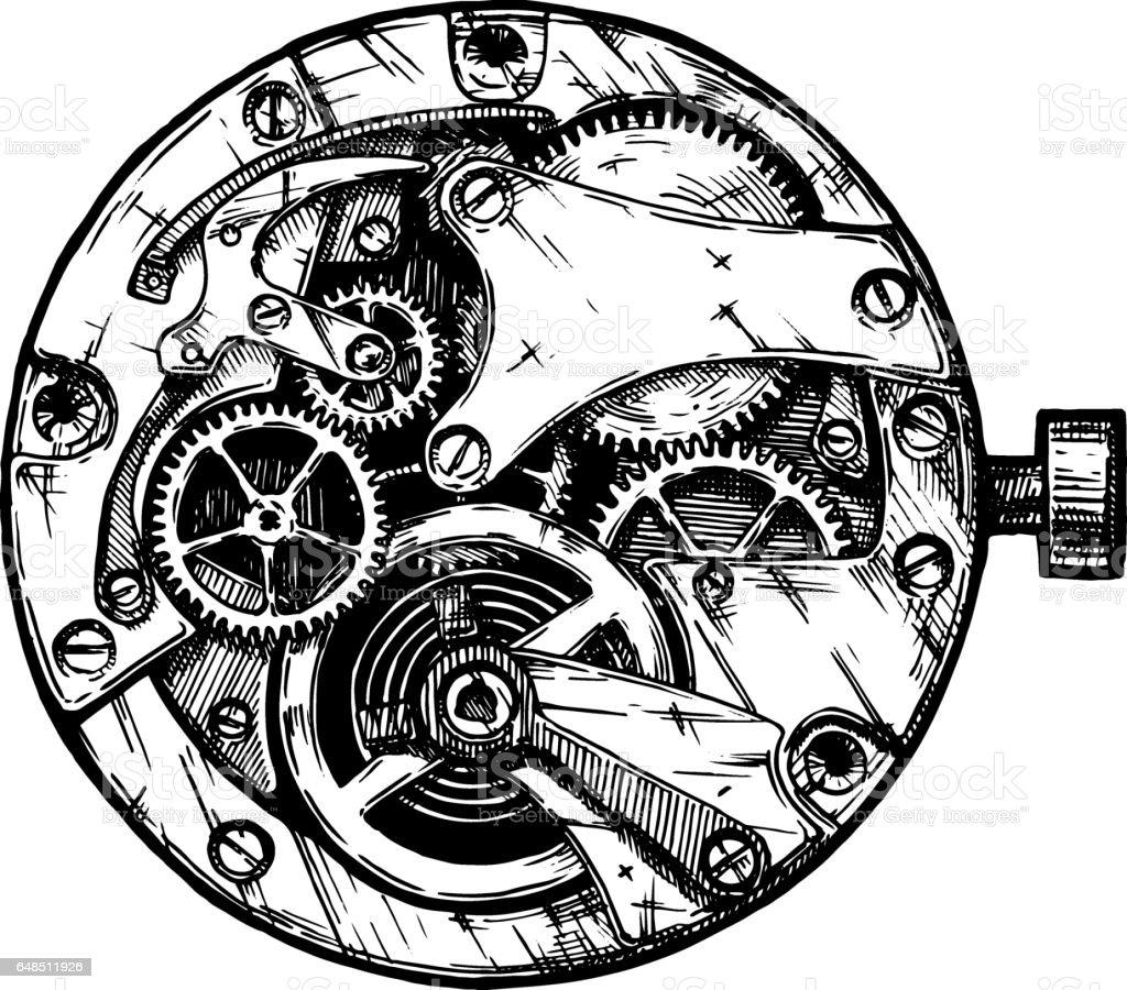 Vector illustration of clockwork vector art illustration