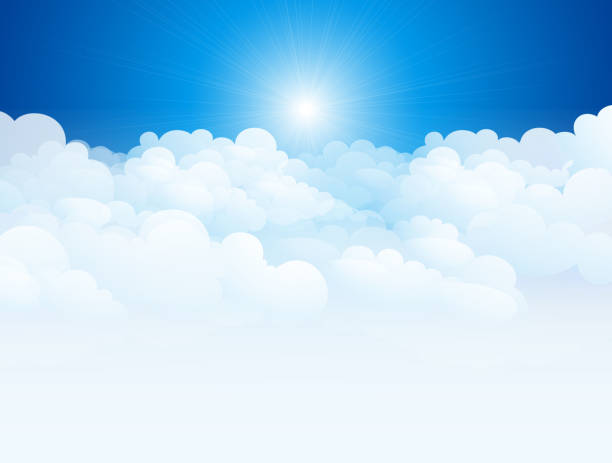 Vector illustration of clouds in blue sky Blue sky with clouds. altocumulus stock illustrations