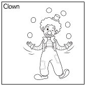 istock Vector illustration of clown isolated on white background. Jobs and occupations concept. Cartoon characters. Education and school kids coloring page, printable, activity, worksheet, flashcard. 1319334567