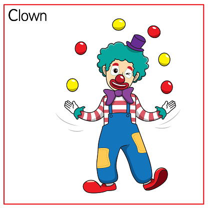 Vector illustration of clown isolated on white background. Jobs and occupations concept. Cartoon characters. Education and school kids coloring page, printable, activity, worksheet, flashcard.