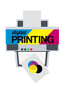 Vector illustration of cmyk digital printer