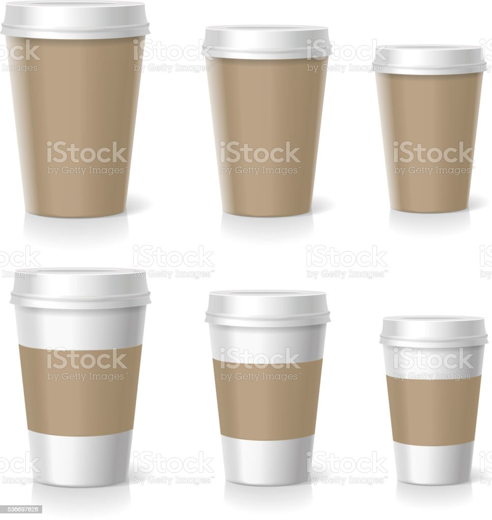 Vector illustration of coffee cups set, isolated vector art illustration
