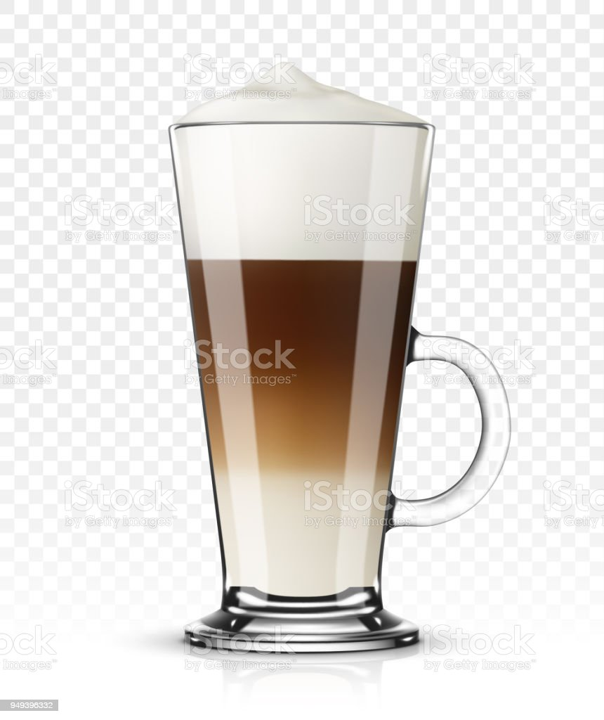 Vector illustration of coffee latte in glass on transparent background Vector illustration of coffee latte in glass on transparent background Beige stock vector