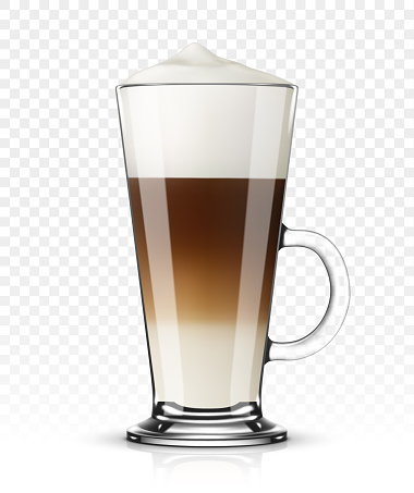 Vector Illustration Of Coffee Latte In Glass On Transparent Background Stock Illustration - Download Image Now