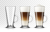 Vector illustration of coffee latte in glass on transparent background