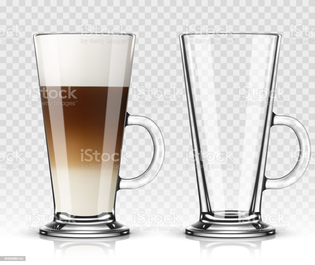Vector Illustration Of Coffee Latte In Glass On Transparent Background Stock Illustration Download Image Now Istock