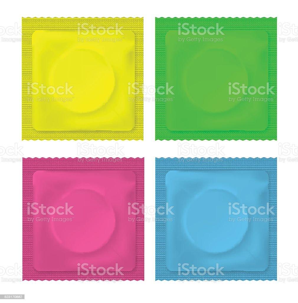 Vector illustration of color blank condom vector art illustration