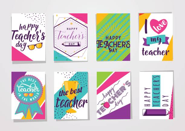 Vector illustration of color happy teachers day lettering typography card set Vector illustration of color happy teachers day lettering typography card set. Greeting design for poster, banner with eyeglasses, cup, bow, medal, pencil, apple in hipster motion dynamic style thank you teacher stock illustrations