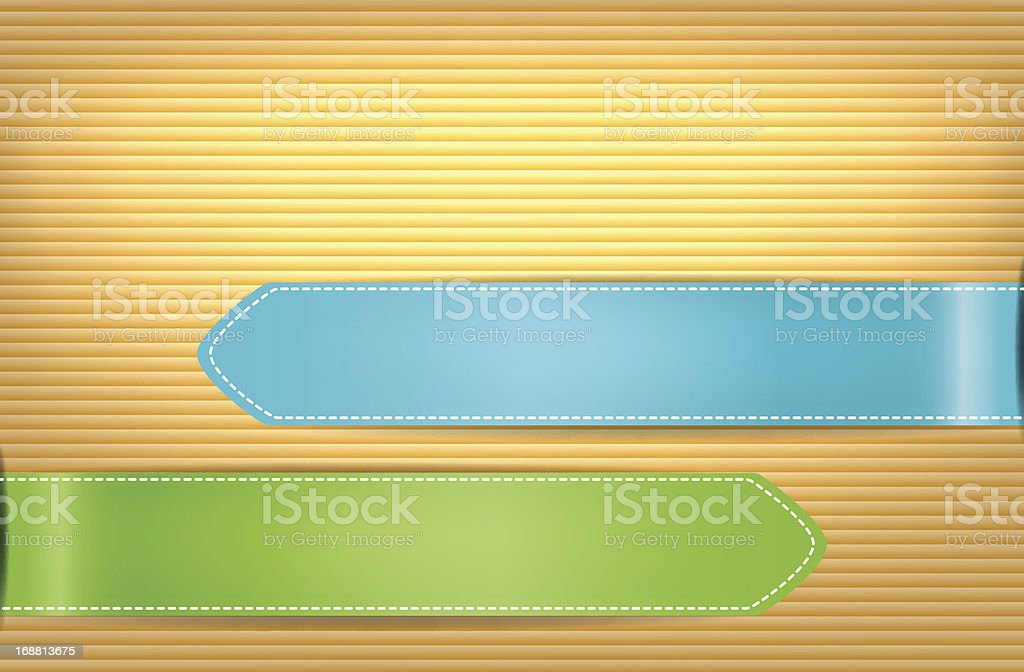 Vector illustration of Color stickers on wooden background royalty-free stock vector art
