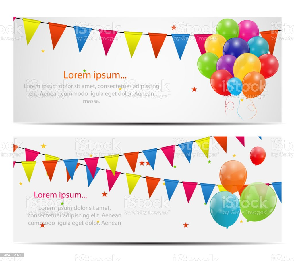 Vector illustration of colorful balloon cards vector art illustration