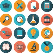 Vector illustration of colorful education icons