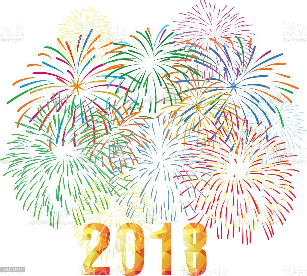 Vector Illustration Of Colorful Fireworks. Happy New Year 2018 Theme  Royalty Free Vector Illustration