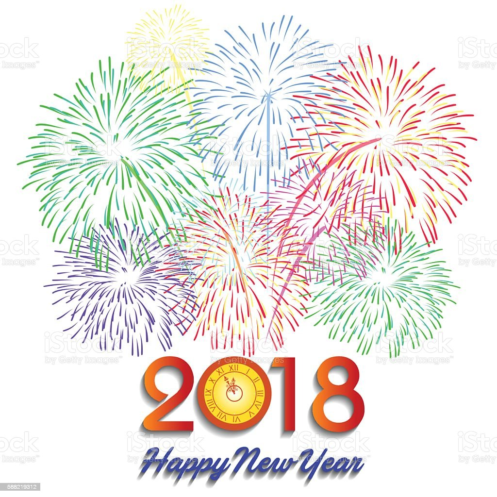 vector illustration of colorful fireworks happy new year 2018 theme royalty free vector illustration