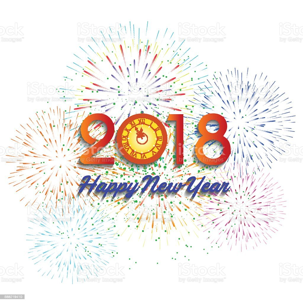 Vector Illustration Of Colorful Fireworks Happy New Year 2018 Theme ...