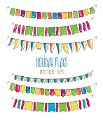 Vector Illustration of colorful flag carlands on white  background.  Holiday.
