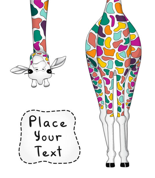 vector illustration of colorful giraffe with place for your text - giraffe stock illustrations