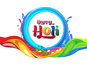 colorful happy holi artistic text with splashes vector Illustration for card, banner, website, Poster