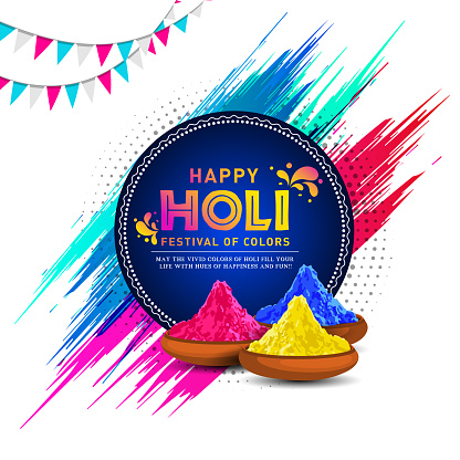 Vector Illustration of colorful Happy Holi Greeting Background