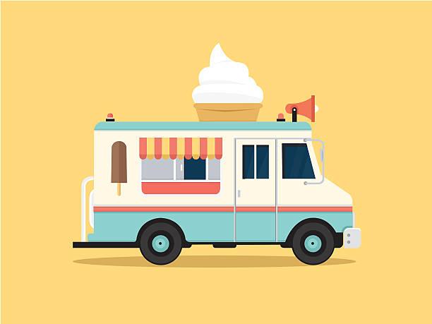 vektor-illustration von bunten ice cream truck in flachen stil - imbisswagen stock-grafiken, -clipart, -cartoons und -symbole