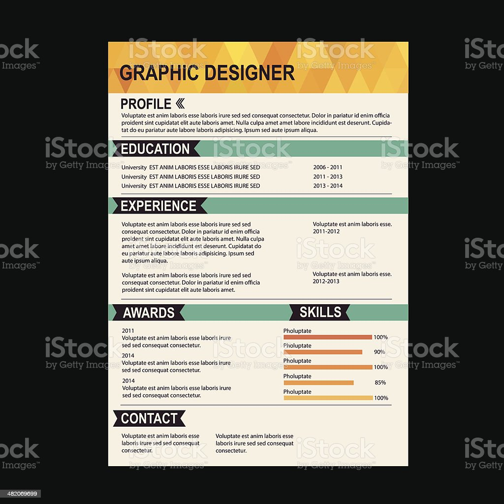 vector illustration of colorful resume template stock vector art