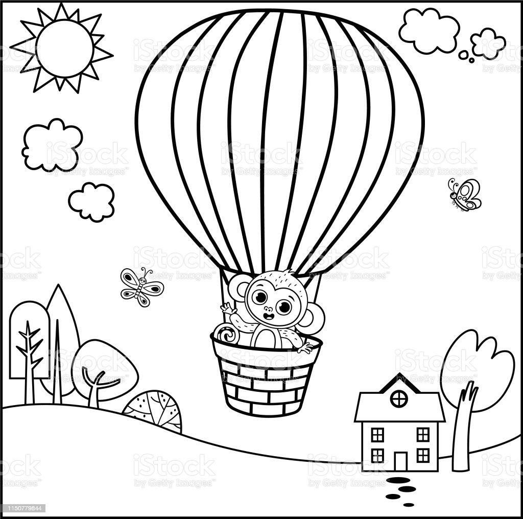 Sicak Hava Balonu Ile Boyama Sayfasi Vektor Illustration Stok