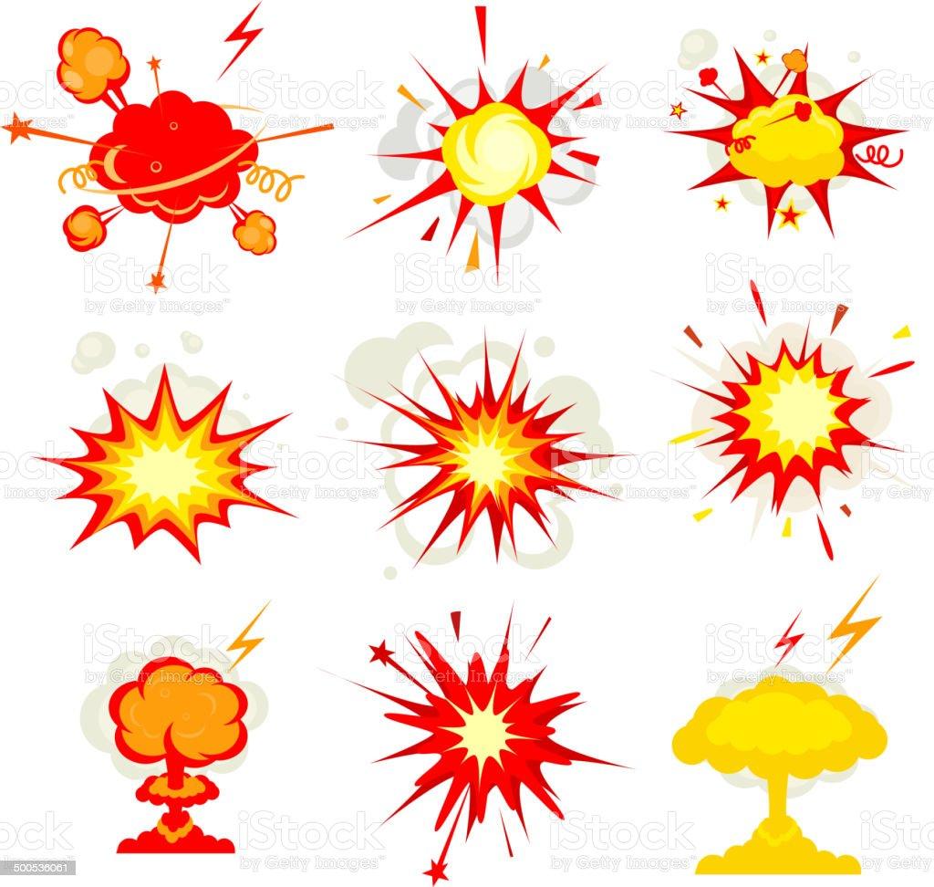 Vector illustration of comic-style explosions vector art illustration
