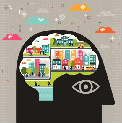 Vector illustration of community thinking