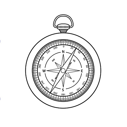 Vector illustration of compass isolated on white background. Black and White for coloring. School things and accessories concept. Education and school kids coloring page, printable, activity, worksheet, flash card.