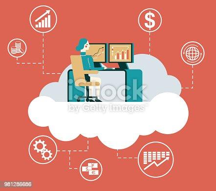 1054713428 istock photo Vector illustration of computing concept - Businesswoman 981286686