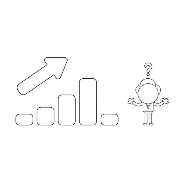 Vektor-Illustration des verwirrten Geschäftsmann-Charakters mit Verkaufsbalken-Diagramm nach oben und unten. Schwarze Umriss. – Vektorgrafik