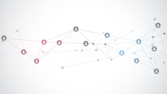 Vector illustration of connecting people and communication concept, social network.