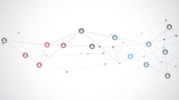 wektorowa ilustracja łączenia ludzi i koncepcji komunikacji, sieci społecznościowej. - sieć komputerowa stock illustrations