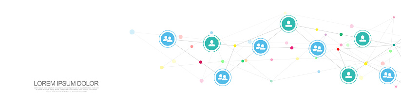 843593806 istock photo Vector illustration of connecting people and communication concept, social network. 1269645086