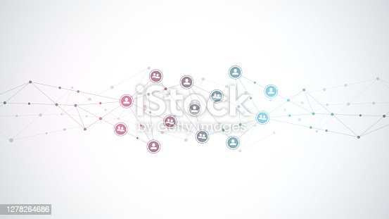 istock Vector illustration of connecting people and communication concept, social network. 1278264686