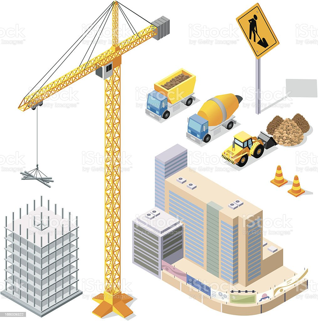 Vector illustration of construction elements vector art illustration