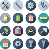 Vector illustration of construction icons on white
