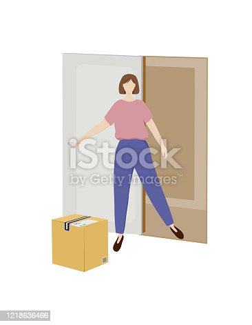 istock Vector illustration of contactless delivery, a girl, woman opens the door, a box on the floor. The parcel was delivered home without personal contact with the courier. 1218636466