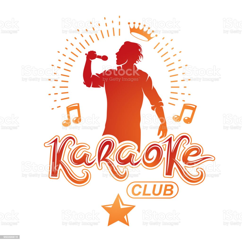 Vector illustration of content man singing, soloist holds a microphone in hand. Karaoke club, feel yourself famous superstar. vector art illustration