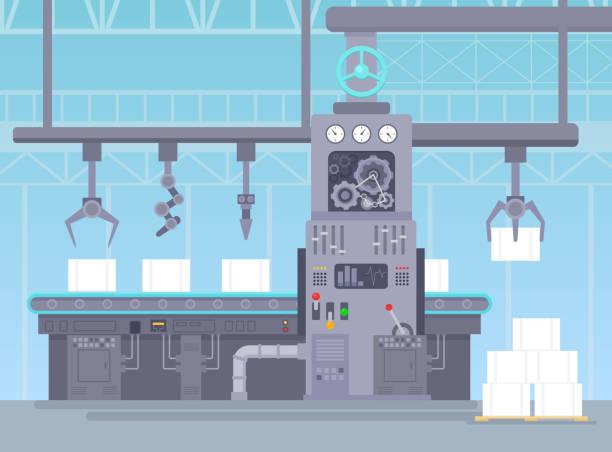 illustrations, cliparts, dessins animés et icônes de illustration vectorielle de convoyeur dans l'entrepôt de fabrication. concept industriel d'usine. production de tapis et un paquets d'emballage sur la ligne de ceinture au style cartoon plat. - infographie industrie manufacture production