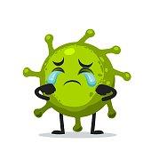 Vector Illustration of corona mascot or character crying