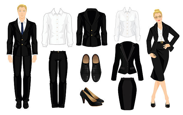Vector illustration of corporate dress code. Vector illustration of corporate dress code. Office uniform. Clothes for business people. Secretary or professor in official black formal suit. Woman in glasses. Pair of black formal shoes.  businesswear stock illustrations