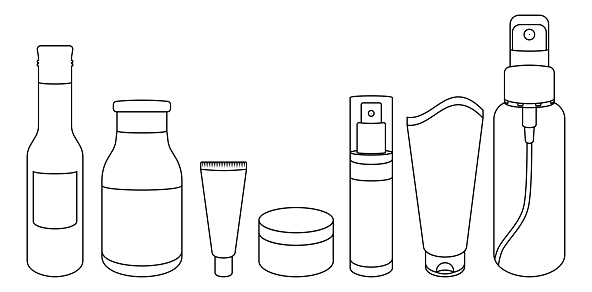 Vector Illustration Of Cosmetic Bottles Outline Drawing Of