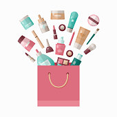 Vector Paper Bag with Makeup Cosmetics isolated on white background. Cosmetics sale concept