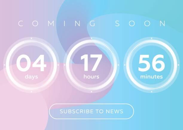 Vector Illustration of Countdown Timer. Digital Clock Design on Blue Abstract Fluid Background. vector art illustration