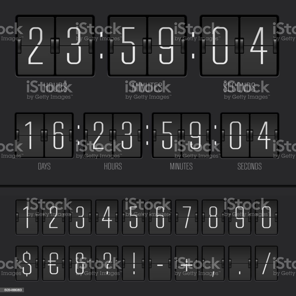 Vector illustration of countdown timer and scoreboard numbers