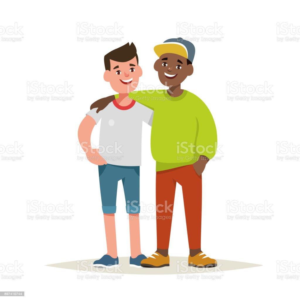 Vektor-Illustration von paar jungen Freunden isoliert – Vektorgrafik