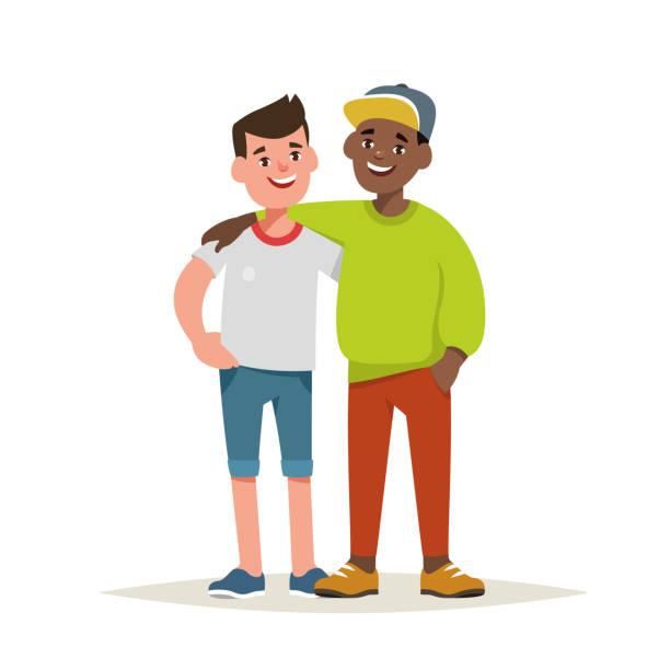 ilustrações, clipart, desenhos animados e ícones de ilustração em vetor de amigos do menino par isolado - hug